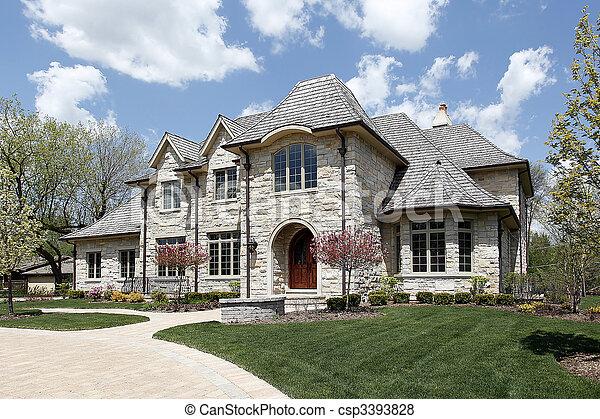 Luxury stone home - csp3393828