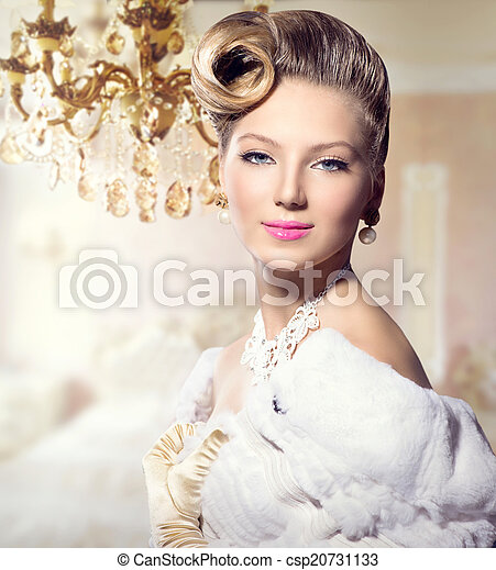 Luxury Styled Beauty Lady Portrait. Retro Woman - csp20731133