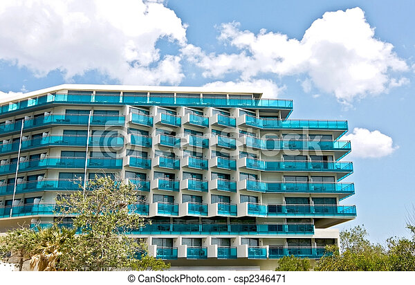 Luxury summer vacation hotel with blue windows at Rhodes island in Greece - csp2346471