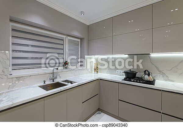 Luxury White Modern Marble Kitchen In Studio Space Luxury Large Modern White Marble Kitchen United With Dining Room Canstock