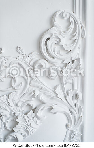 Luxury White Wall Design Bas Relief With Stucco Mouldings Roccoco Element Canstock