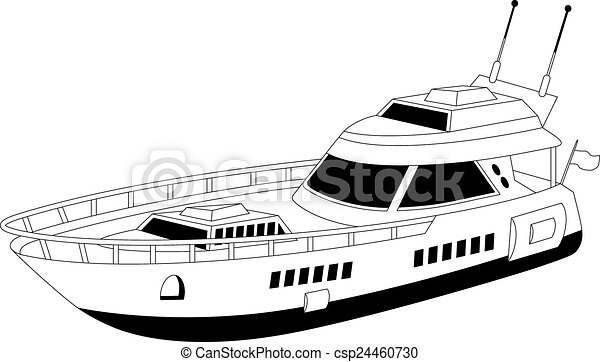 Luxury Yacht Illustration Of A Over White Vectors