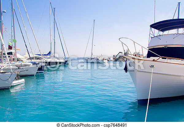 Luxury yachts in Formentera marina - csp7648491