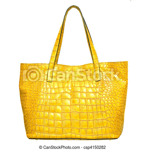 luxury yellow leather female bag isolated on white - csp4150282