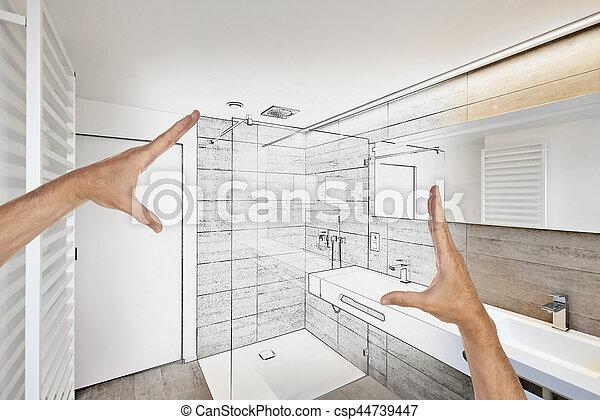 Luxus, Badezimmer, Modern, Geplant, Renovierung   Csp44739447