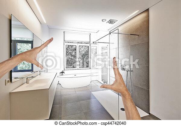 Luxus, Badezimmer, Modern, Geplant, Renovierung   Csp44742040