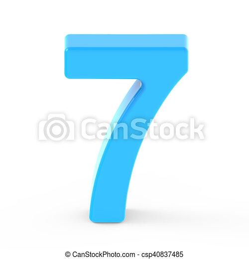 Luz Azul Número 7 Azul Gráfico Luz 7 Número Aislado