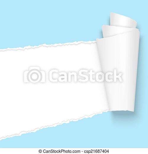 Desgarrada de papel azul claro - csp21687404
