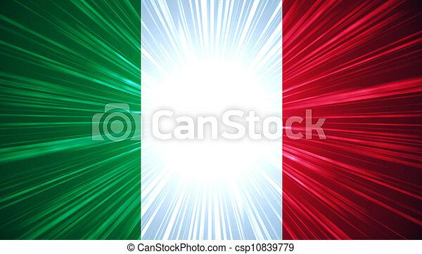 Bandera italiana con rayos de luz - csp10839779