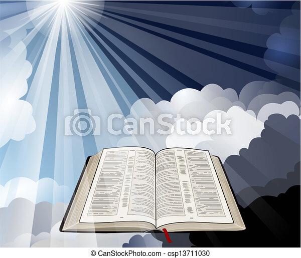 luz, biblia, abierto, rayos - csp13711030