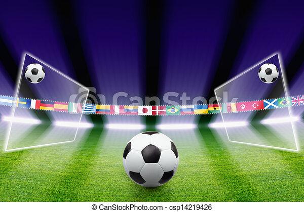 luz, bola futebol, campo - csp14219426