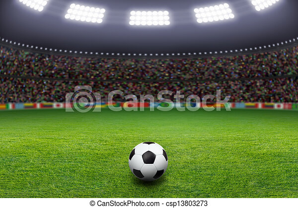 luz, bola futebol, estádio - csp13803273