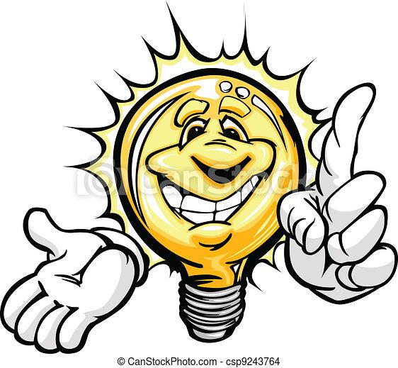 Una bombilla de cartón con cara sonriente y manos con brillante idea o ahorros de energía - csp9243764