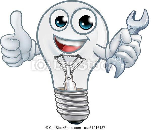 luz, caricatura, bombilla, mascota, bombilla, carácter - csp81016187