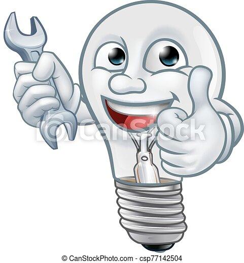 luz, caricatura, mascota, bombilla, bombilla, carácter - csp77142504