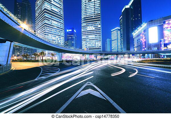 luz de la ciudad, senderos, shanghai, noche, camino del anillo - csp14778350