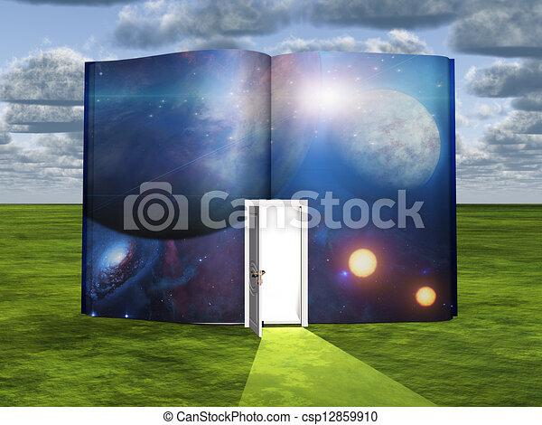 Libro con escena de ciencia ficción y puerta abierta de luz - csp12859910