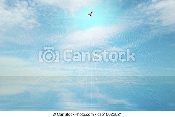 Rayo de luz y espíritu santo - csp18622821