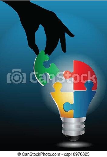 Imagen del vector de una mano humana uniendo rompecabezas de bombillas - csp10976825
