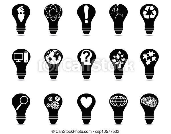luz, jogo, idéia, bulbo, ícones - csp10577532