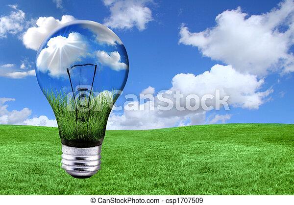 luz, morphed, verde, soluciones, bombilla, energía, paisaje - csp1707509