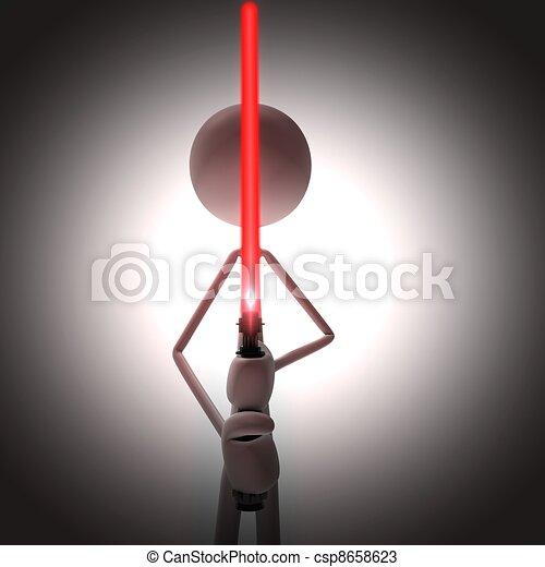Un hombre con una espada de luz roja - csp8658623
