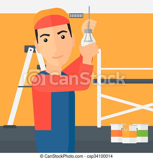 luz, torcendo, bulb., eletricista - csp34100014
