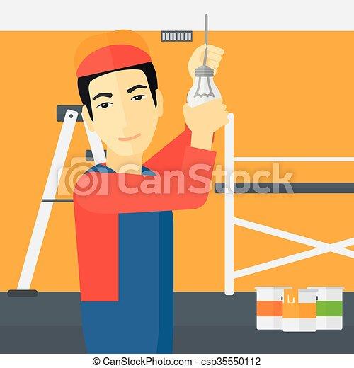 luz, torcendo, bulb., eletricista - csp35550112