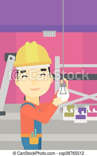 luz, torcendo, bulb., eletricista - csp38765512