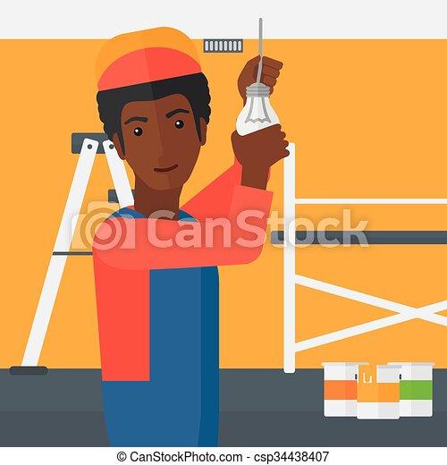 luz, torcendo, bulb., eletricista - csp34438407
