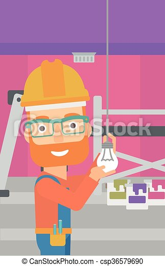 luz, torcendo, bulb., eletricista - csp36579690