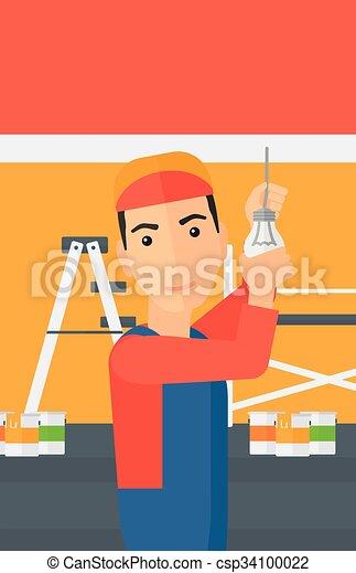 luz, torcendo, bulb., eletricista - csp34100022