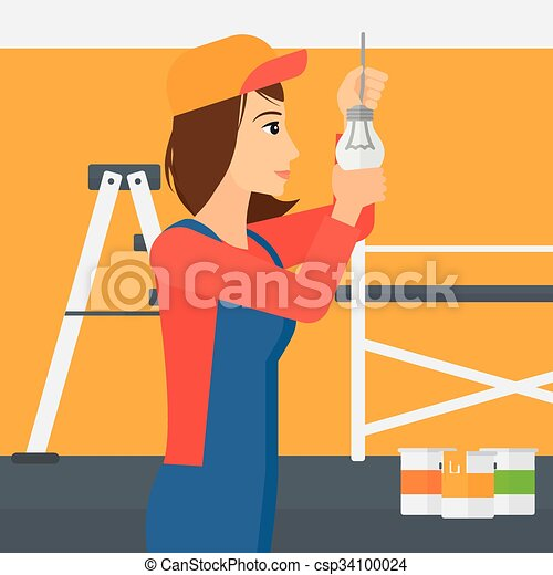 luz, torcendo, bulb., eletricista - csp34100024