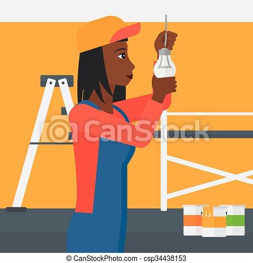 luz, torcendo, bulb., eletricista - csp34438153