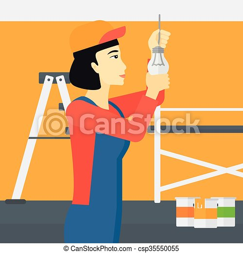 luz, torcendo, bulb., eletricista - csp35550055