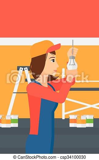 luz, torcendo, bulb., eletricista - csp34100030