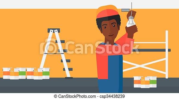 luz, torcendo, bulb., eletricista - csp34438239