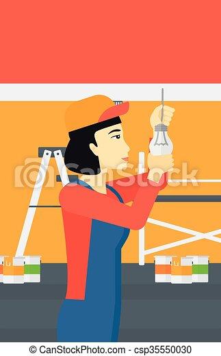 luz, torcendo, bulb., eletricista - csp35550030