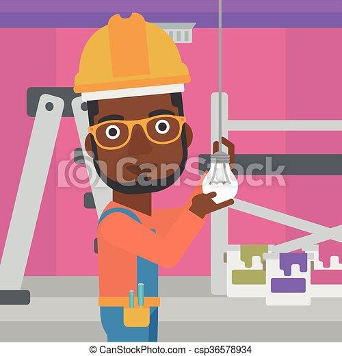 luz, torcendo, bulb., eletricista - csp36578934