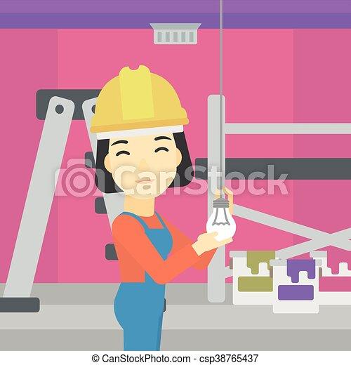 luz, torcendo, bulb., eletricista - csp38765437