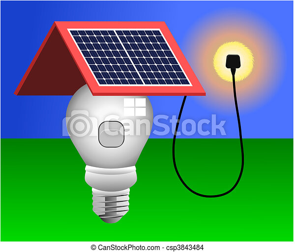 luz, vetorial, painéis, energia solar - csp3843484