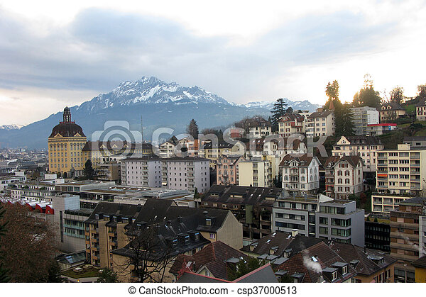 Luzern on the mountains background - csp37000513