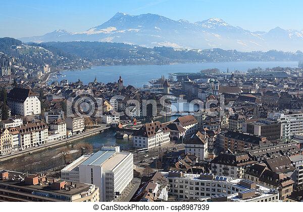 luzerne, cityscape, winter, schweiz - csp8987939