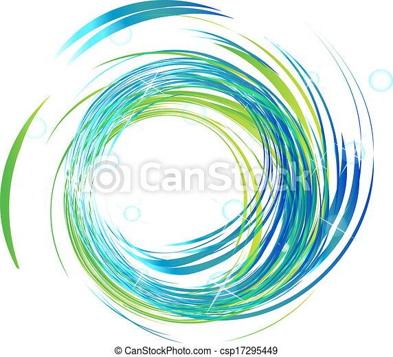 luzes azuis, luminoso, logotipo, ondas - csp17295449