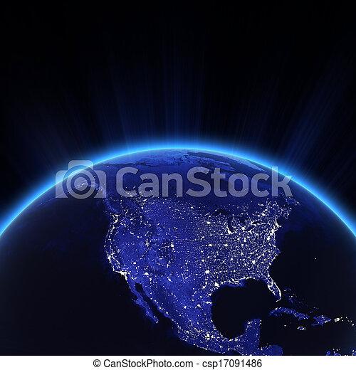 luzes, cidade, eua, noturna - csp17091486