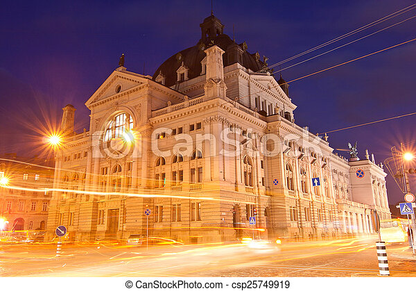 Lviv National Academic Opera and Ballet Theatre in the evening - csp25749919