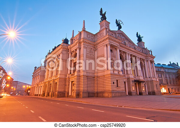 Lviv National Academic Opera and Ballet Theatre in the evening - csp25749920