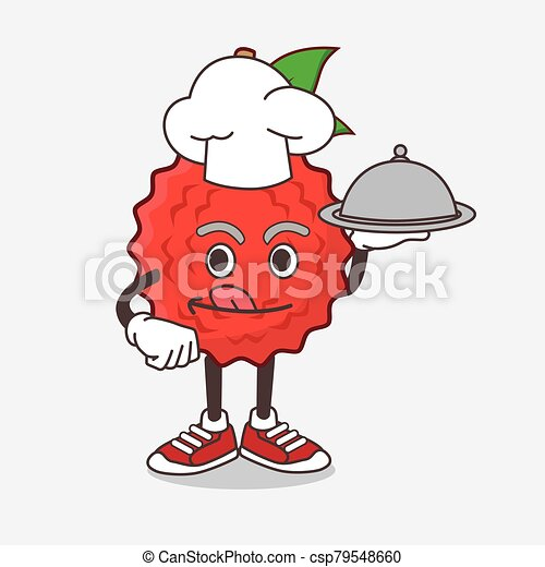 Lychee Fruit cartoon mascot character as a Chef with food on tray ready to serve - csp79548660