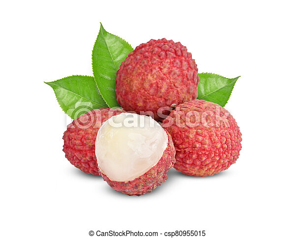 lychee isolated on white background - csp80955015