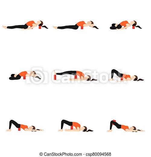 lying asanas set with blocks stylized woman practicing